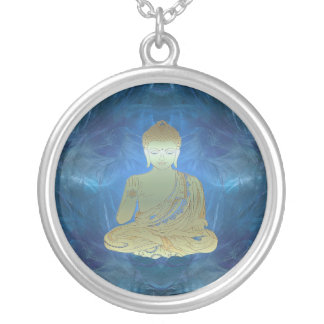 Buddha applied (blue) silver plated necklace
