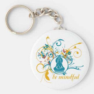 Buddha Be Mindful Basic Round Button Keychain