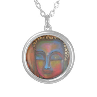 buddha-blessing-white-robe-high silver plated necklace