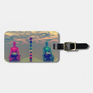 buddha blue and red and chakra luggage tag