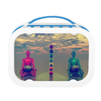 buddha blue and red and chakra lunch box