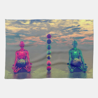 buddha blue and red and chakra towel