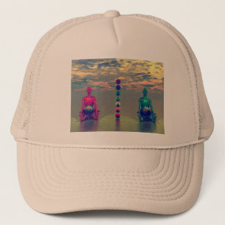 buddha blue and red and chakra trucker hat