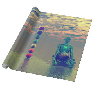 buddha blue and red and chakra wrapping paper