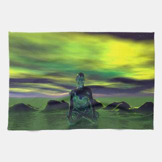 buddha blue and sky green kitchen towel