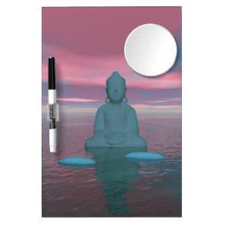 buddha blue and steps grey dry erase board with mirror