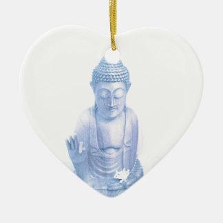 buddha blue and tiny white mouse ceramic heart ornament