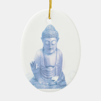 buddha blue and tiny white mouse ceramic oval ornament
