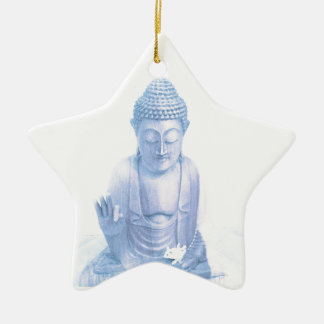buddha blue and tiny white mouse ceramic star ornament