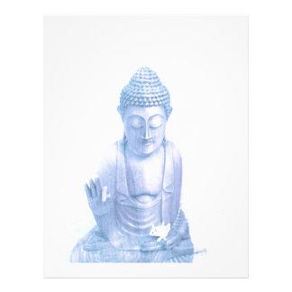 buddha blue and tiny white mouse custom letterhead