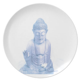 buddha blue and tiny white mouse dinner plate
