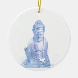 buddha blue and tiny white mouse round ceramic ornament
