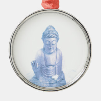 buddha blue and tiny white mouse Silver-Colored round ornament