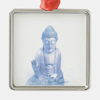 buddha blue and tiny white mouse Silver-Colored square ornament