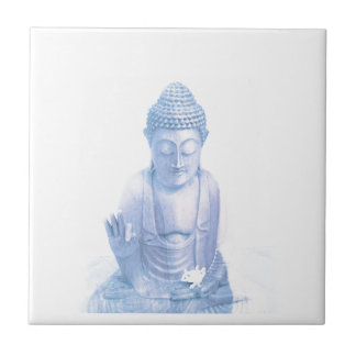 buddha blue and tiny white mouse tile