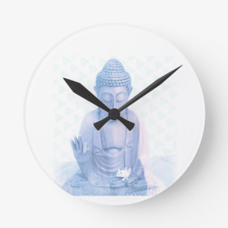 buddha blue and tiny white mouse wall clock
