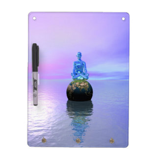 buddha blue and world dry erase board