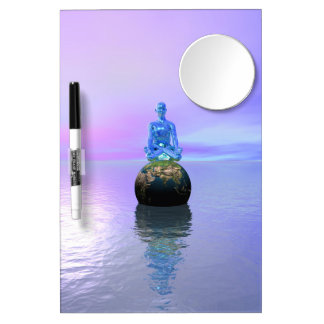 buddha blue and world dry erase board with mirror