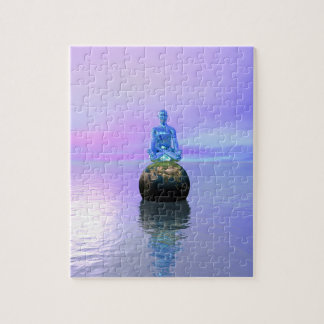 buddha blue and world jigsaw puzzle