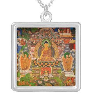 Buddha Buddhist Buddhism Blessing Boho Bohemian Silver Plated Necklace