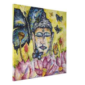 Buddha Butterfly Watercolor Canvas Print