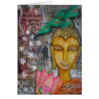 Buddha Card with Namaste in Hindi from India