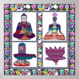 BUDDHA Chakra ShivLinga Lotus Yoga Meditation ART Poster