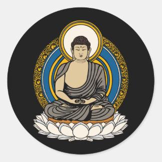 Buddha Dhyana Mudra Round Sticker