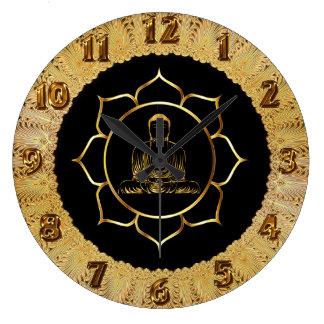 Buddha doing yoga meditation spiritual design large clock