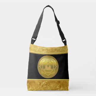 Buddha doing yoga meditation spiritual gold foil crossbody bag