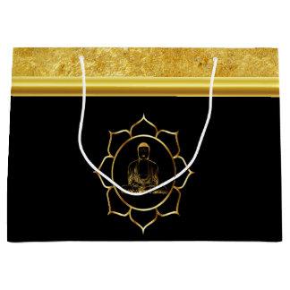 Buddha doing yoga meditation spiritual gold foil large gift bag