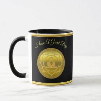 Buddha doing yoga meditation spiritual gold foil mug