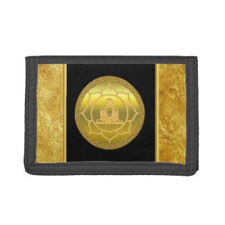 Buddha doing yoga meditation spiritual gold foil tri-fold wallet