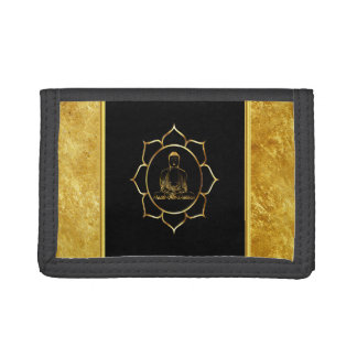 Buddha doing yoga meditation spiritual gold foil tri-fold wallets