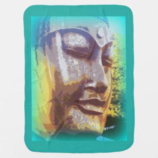 buddha face green baby blanket