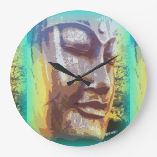 buddha face green wallclock