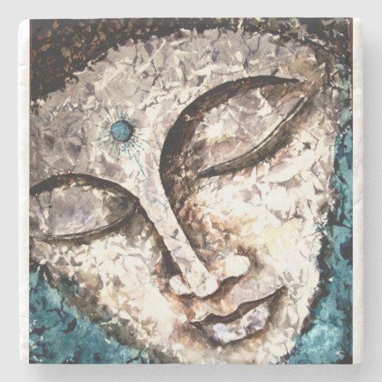 Buddha Face Watercolor Art Stone Coaster