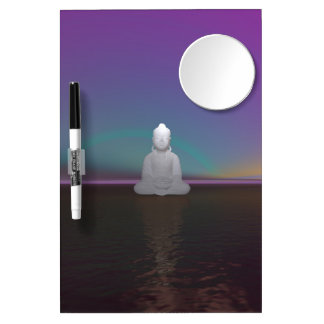 buddha green and black dry erase board with mirror