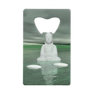 buddha green  and steps white wallet bottle opener
