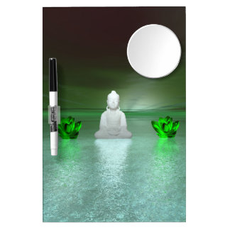 buddha green and water lily green dry erase board with mirror