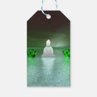 buddha green and water lily green gift tags
