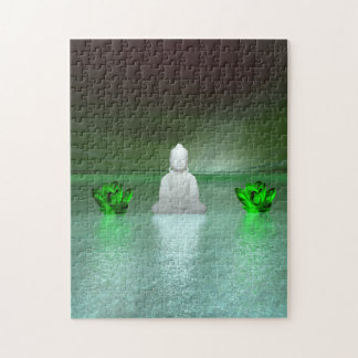 buddha green and water lily green jigsaw puzzle