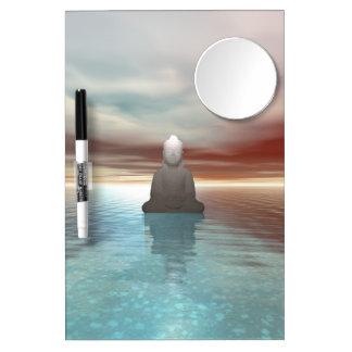buddha green dry erase board with mirror