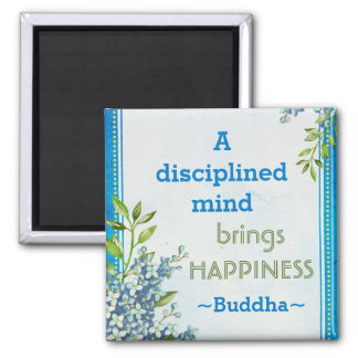Buddha Happiness Motivational Quote Square Magnet