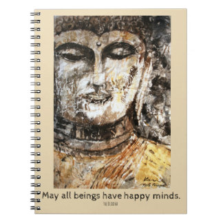 Buddha Happy Quote Watercolor Art Spiral Notebook