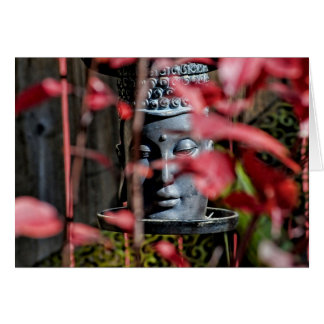 Buddha Head with Red Leaves Card