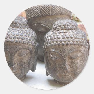 Buddha Heads Classic Round Sticker