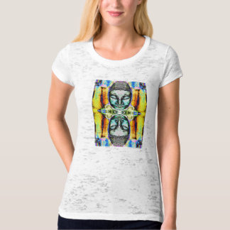 Buddha Heads: Women's Fitted Art Tee Shirt