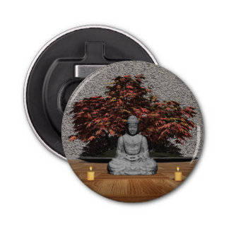 Buddha in a room - 3D render Button Bottle Opener