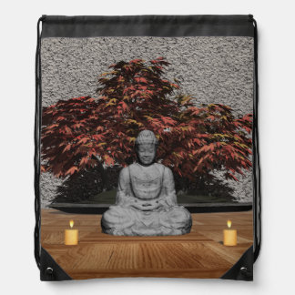 Buddha in a room - 3D render Drawstring Bag